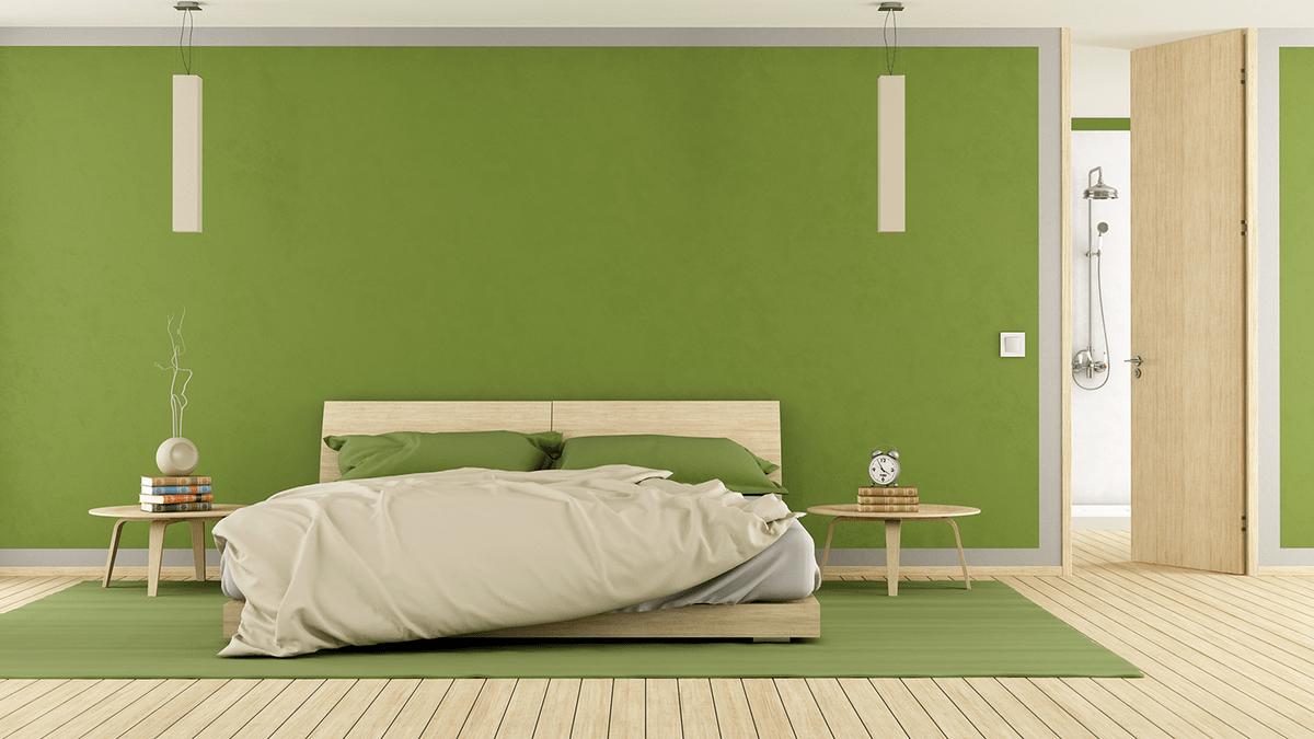 auch im schlafzimmer ist das trendfarbe greenery. Black Bedroom Furniture Sets. Home Design Ideas